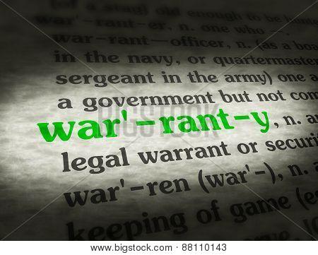 Dictionary Warranty Black On BG