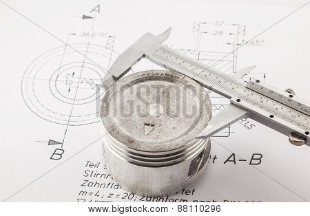 Vernier Caliper Measure  Piston