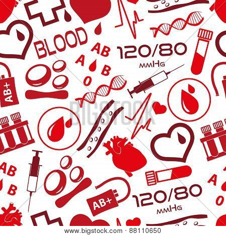 Simple Blood Vector Icons Seamless Pattern Eps10