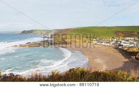 Challaborough coast South Devon England uk popular surfing beach near Bigbury-on-sea