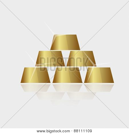 Expensive Shiny Gold Bricks Pyramid Vector Eps10