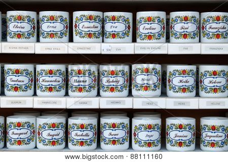 ST. GILGEN, AUSTRIA - DECEMBER 14: Mugs with names sold in souvenir shop in St. Gilgen on Wolfgang See lake, Austria on December 14, 2014.