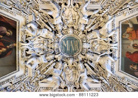 SALZBURG, AUSTRIA - DECEMBER 13:Monogram Maria, fragment of the dome of Salzburg Cathedral on December 13, 2014. Salzburg Cathedral is renowned for its harmonious Baroque architecture.