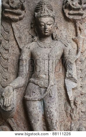 KOLKATA, INDIA - FEBRUARY 15: Avalokitesvara, from 10th century found in Khondalite Lalitagiri, Odisha now exposed in the Indian Museum in Kolkata, on February 15, 2014