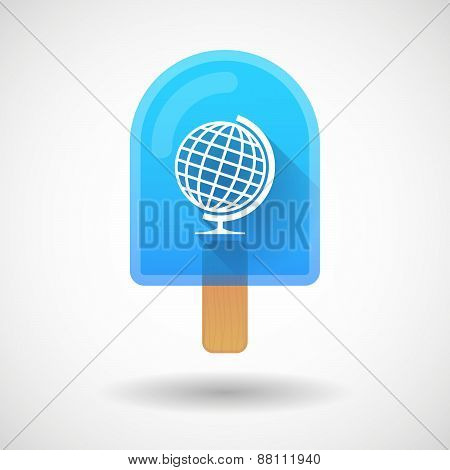 Ice Cream Icon With A World Globe