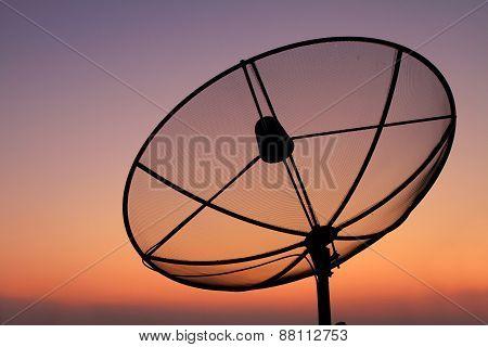 satellite dish in sunset time