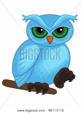 Cute Cartoon Blue Owl On A Branch