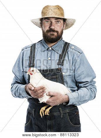 Farmer Holding Hen