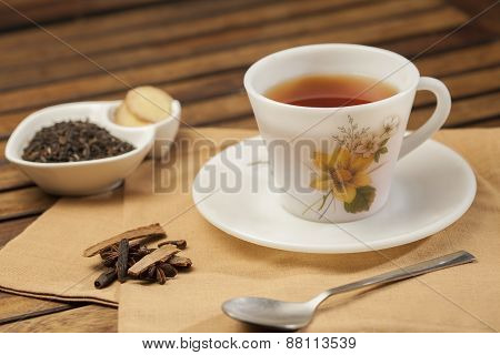 Spiced Masala Tea with Ingredients