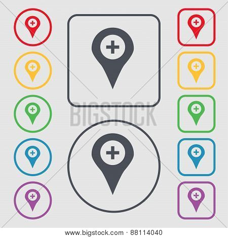 Plus Map Pointer, Gps Location Icon Sign. Symbol On The Round And Square Buttons With Frame. Vector