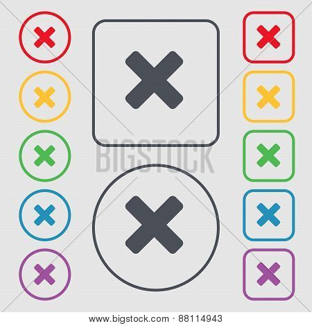 Cancel, Multiplication Icon Sign. Symbol On The Round And Square Buttons With Frame. Vector