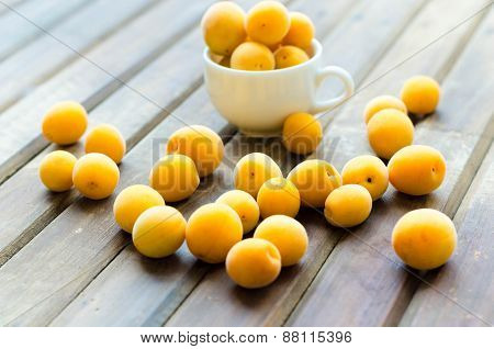 Sweet Ripe Apricots On Wooden Table. Selective Focus