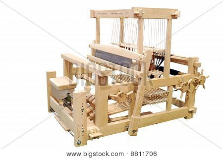 wooden loom isolated