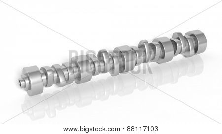 Car camshaft, isolated on white background
