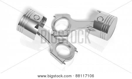 Car engine piston, isolated on white background