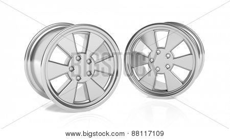Car aluminum alloy rims, isolated on white background