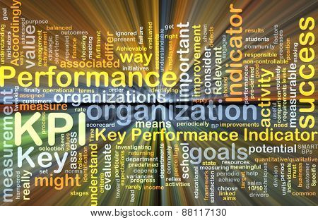 Background text pattern concept wordcloud illustration of KPI Key Performance Indicator glowing light