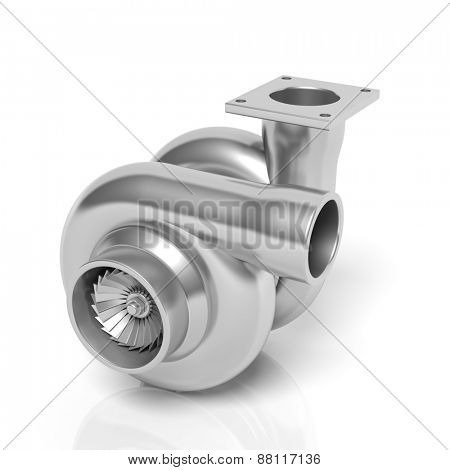 Car turbocharger, isolated on white background