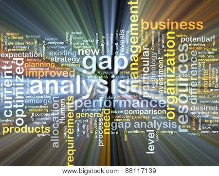 Background text pattern concept wordcloud illustration of gap analysis glowing light