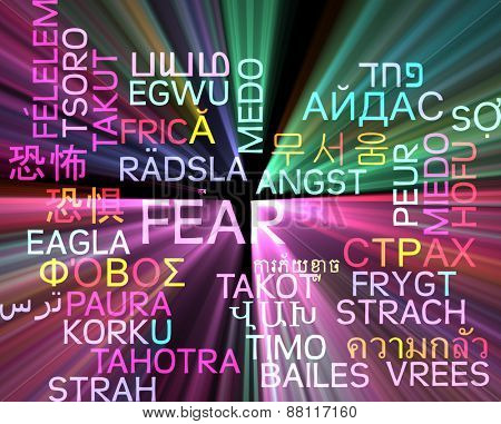 Background concept wordcloud multilanguage international many language illustration of fear glowing light