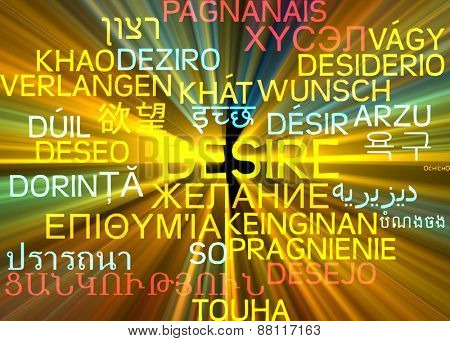 Background concept wordcloud multilanguage international many language illustration of desire glowing light
