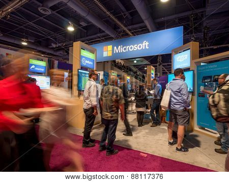LAS VEGAS, NV - April 15: Microsoft at NAB Show 2015 exhibition. NAB Show is an annual trade show produced by the National Association of Broadcasters in Las Vegas Convention Center during April 13-16