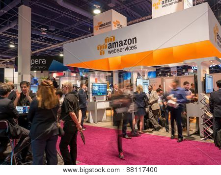 LAS VEGAS, NV - April 15: Amazon at NAB Show 2015 exhibition. NAB Show is an annual trade show produced by the National Association of Broadcasters in Las Vegas Convention Center during April 13-16