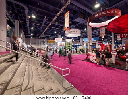 LAS VEGAS, NV - April 15: NAB Show 2015. It's an annual trade show by the National Association of Broadcasters.1726 exhibitors on 2,000,000 sq feet space of Las Vegas Convention Center, April 13-16.