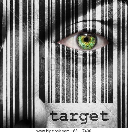 Barcode Target Superimposed On A Man's Face
