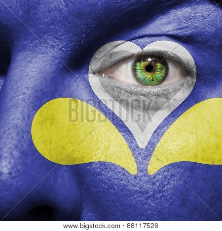 Brussels-capital Region Flag Painted On A Man's Face