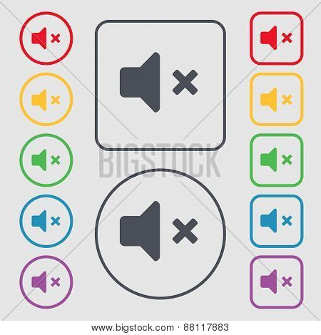 Mute Speaker , Sound Icon Sign. Symbol On The Round And Square Buttons With Frame. Vector