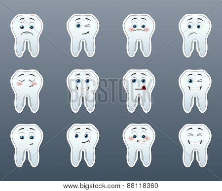 Set Of Cheerful Teeth