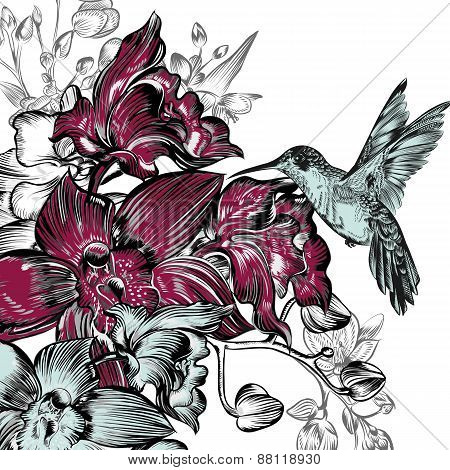 Background With Orchids And Hummingbird In Watercolor Style
