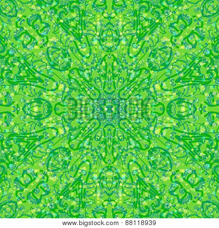 Green and Blue Abstract Floral Seamless Pattern