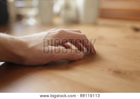 man hand on empty  wood table