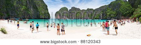 Tourists On The Wonderful Maya Beach Of Phi Phi Leh Island, Thailand