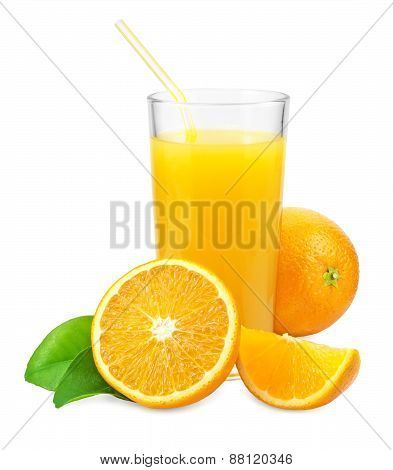 Orange Juice And Oranges With Leaves