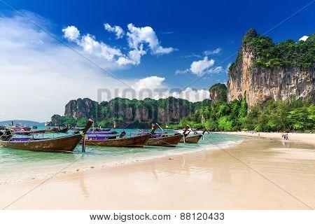 Railay Beach In Krabi Thailand, Asia