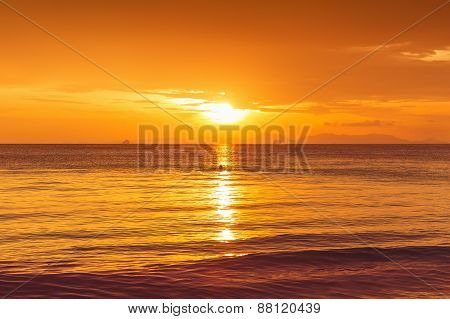 Beautiful Sunset In Yellow As Background
