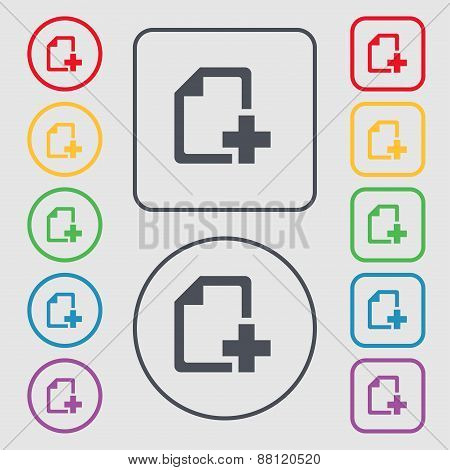 Add File Document Icon Sign. Symbol On The Round And Square Buttons With Frame. Vector