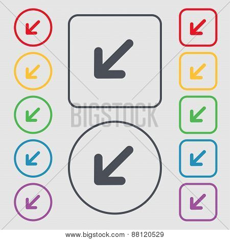 Turn To Full Screenicon Sign. Symbol On The Round And Square Buttons With Frame. Vector
