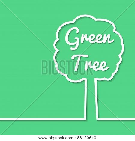 Green Tree Abstract Line Art Simple Poster Design