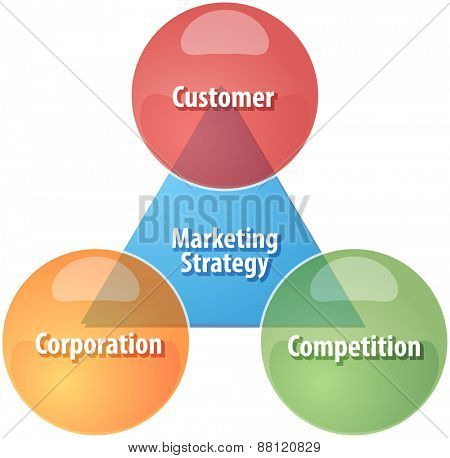 business strategy concept infographic diagram illustration of marketing strategy components