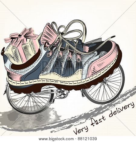 Fashion Background With Sports Boots On A Bike Wheels Symbolized Delivery Service