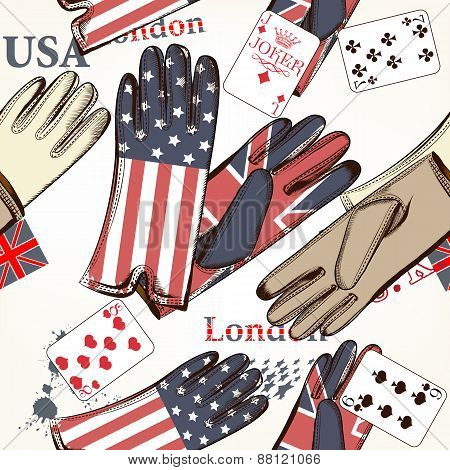 Fashion Seamless Pattern With Cards And Gloves Decorated By British And Usa Flags