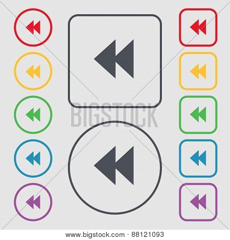 Rewind Icon Sign. Symbol On The Round And Square Buttons With Frame. Vector