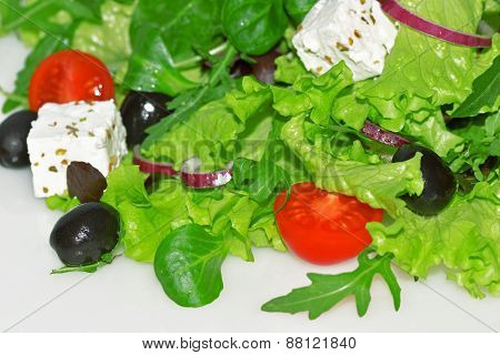 Mixed Salad With Tomatoes And  Feta Cheese