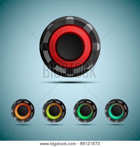 Casino gambling chips isolated on light background.