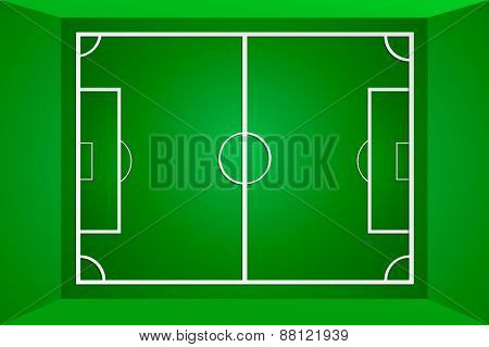 Vector green soccer field or football field, gridiron