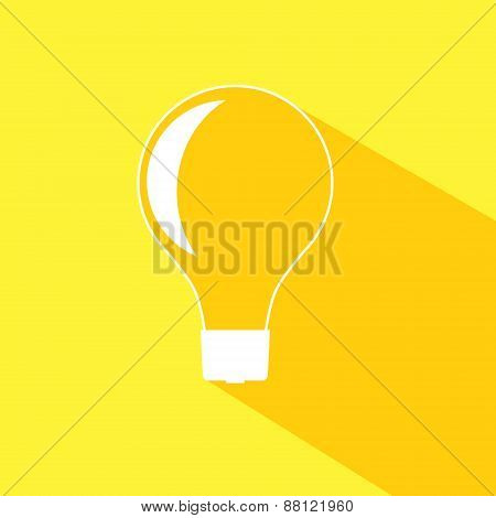 Incandescent light bulb icon.  Isolated on stylish color background.